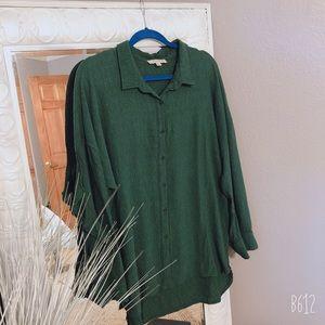 Umgee Emerald Green Ruffle Sleeved Blouse